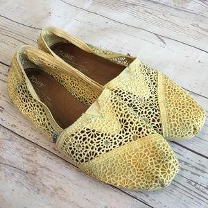 TOMS Yellow Crochet Lace Classic Original Slip Ons